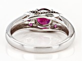 Pre-Owned Raspberry color rhodolite rhodium over silver ring 1.25ctw