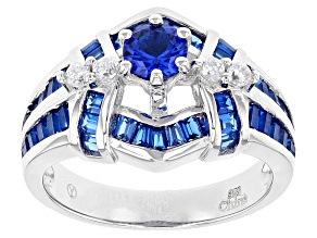 Pre-Owned Lab Blue Spinel And White Cubic Zirconia Rhodium Over Sterling Silver Ring 1.95ctw
