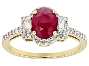 Pre-Owned Red Burmese Ruby 14k Gold Ring 1.40ctw