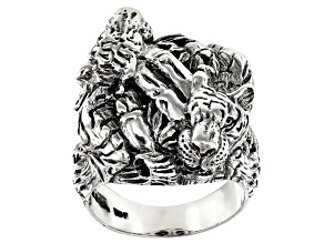Pre-Owned Sterling Silver Tiger Ring