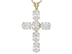 Pre-Owned Cubic Zirconia 10k Yellow Gold Cross Pendant With Chain 4.38ctw