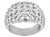 Pre-Owned White Cubic Zirconia Rhodium Over Sterling Silver Ring 6.50ctw