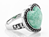 Pre-Owned Blue Amazonite Sterling Silver Ring