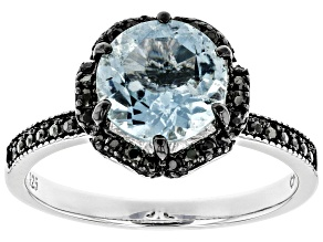 Pre-Owned Blue aquamarine rhodium over sterling silver ring 1.78ctw