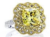 Pre-Owned Yellow And White Cubic Zirconia Platineve & 18k Yellow Gold Over Silver Ring 7.95ctw