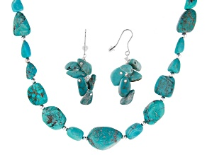 Pre-Owned Blue Turquoise Sterling Silver Necklace & Earrings Set