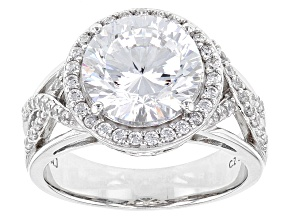 Pre-Owned White Cubic Zirconia Rhodium Over Sterling Silver Ring 6.91ctw