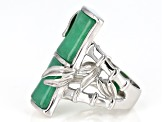 Pre-Owned Green Jadeite Bamboo Inspired Rhodium Over Sterling Silver Ring