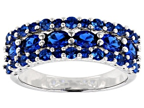 Pre-Owned Blue Lab Created Spinel Rhodium Over Sterling Silver Ring 1.56ctw