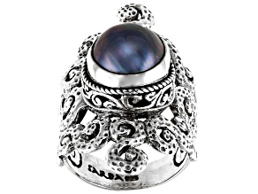 Pre-Owned Blue Mabe Pearl Silver Ring