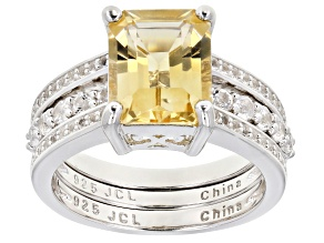 Pre-Owned Citrine And White Topaz Rhodium Over Silver Ring, W/ White Topaz Rhodium Over Silver Band
