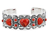 Pre-Owned Red Sponge Coral Silver Heart Cuff Bracelet
