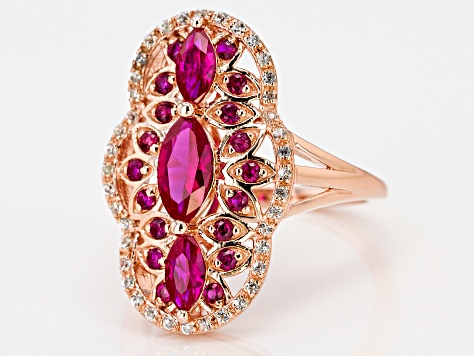 Pre-Owned Red lab created ruby 18k rose gold over silver ring 1.39ctw