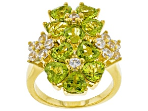 Pre-Owned Green peridot 18k yellow gold over silver ring 4.93ctw