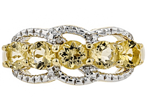 Pre-Owned Yellow Beryl 18k Gold Over Silver Ring .88ctw