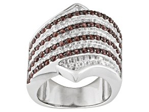 Pre-Owned Red Garnet And White Topaz Sterling Silver Band Ring 1.95ctw