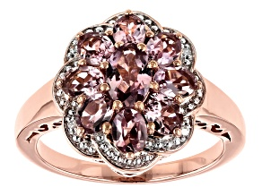 Pre-Owned Color shift garnet 18k rose gold over silver ring 2.05ctw