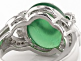 Pre-Owned Green Onyx And White Zircon Sterling Silver Ring .57ctw