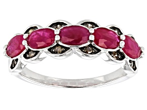 Pre-Owned Red Ruby Rhodium Over Sterling Silver Ring 1.43ctw