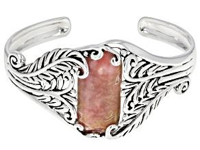 Pre-Owned Pink Rhodochrosite Rhodium Over Silver Bracelet
