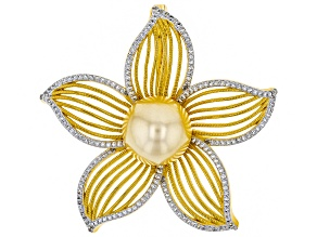 Pre-Owned 13mm Golden Cultured South Sea Pearl Two-Tone Silver Floral Enhancer