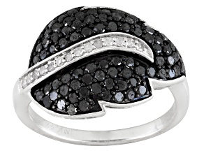 Pre-Owned Black And White Diamond Silver Ring 1.00ctw