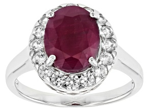 Pre-Owned Red ruby rhodium over sterling silver ring 3.41ctw