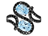 Pre-Owned Swiss Blue Topaz Rhodium Over Sterling Silver Ring 3.05ctw
