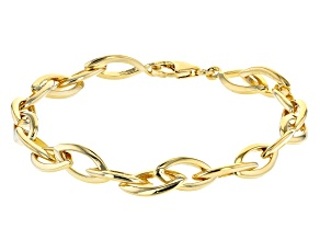 Pre-Owned Moda Al Massimo® 18K Yellow Gold Over Bronze Elongated Cable Link Bracelet 8 Inch