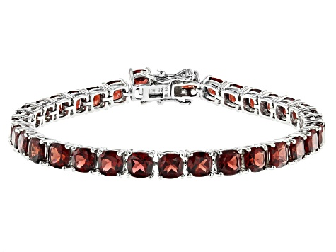 Pre-Owned Red garnet rhodium over silver bracelet 25.17ctw