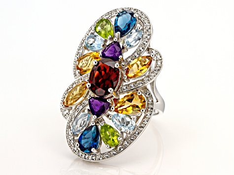 Pre-Owned Multi-Gemstone Rhodium Over Silver Ring 8.72ctw