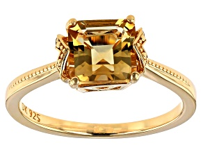 Pre-Owned Yellow golden citrine 18k gold over silver ring 1.46ctw