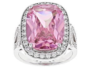 Pre-Owned Pink And White Cubic Zirconia Rhodium Over Sterling Silver Ring 7.65ctw