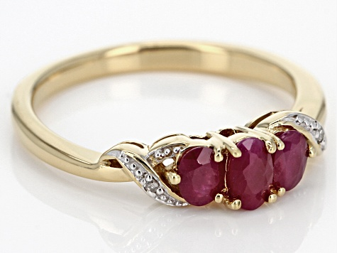 Pre-Owned Red Burmese ruby 18k yellow gold over sterling silver ring 0.69ctw