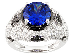 Pre-Owned Blue And White Cubic Zirconia Rhodium Over Sterling Silver Ring 9.64ctw