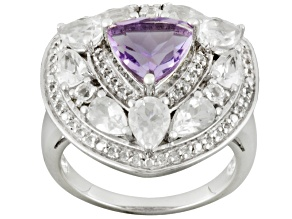 Pre-Owned Orchid Amethyst And White Topaz Sterling Silver Ring 3.86ctw