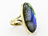 Pre-Owned Gray labradorite 18k gold over sterling silver solitaire ring