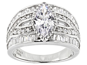 Pre-Owned White Cubic Zirconia Rhodium Over Sterling Silver Ring 5.76ctw