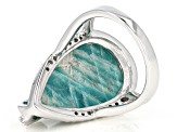 Pre-Owned Blue Amazonite Rhodium Over Sterling Silver Ring .40ctw