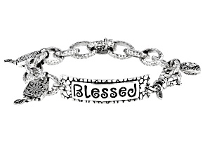 """Pre-Owned Sterling Silver """"Blessed"""" Charm Bracelet"""