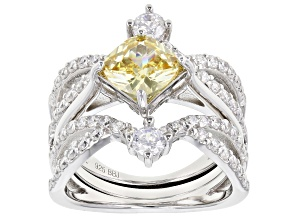 Pre-Owned Yellow And White Cubic Zirconia Rhodium Over Sterling Silver Ring With Guard 5.00CTW