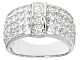 Pre-Owned White Cubic Zirconia Rhodium Over Silver Ring 5.20ctw