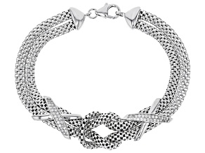 Pre-Owned White Cubic Zirconia Rhodium Over Sterling Silver Knot Bracelet 0.52ctw