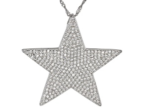 Pre-Owned White Cubic Zirconia Rhodium Over Sterling Silver Star Pendant With Chain 5.15ctw