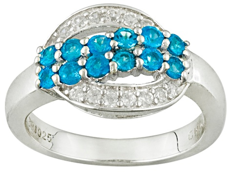 Pre-Owned Blue Neon Apatite Sterling Silver Ring .91ctw