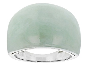 Pre-Owned Green Jadeite Solitaire Rhodium Over Silver Dome Ring