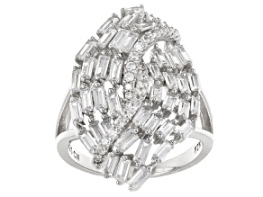 Pre-Owned White Cubic Zirconia Rhodium Over Sterling Silver Irng 4.39ctw