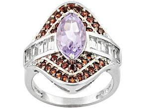 Pre-Owned Orchid Bolivian Amethyst, Garnet And White Topaz Sterling Silver Ring 2.87ctw.