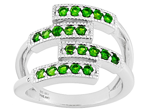 Pre-Owned Green Chrome Diopside Sterling Silver Band Ring .69ctw