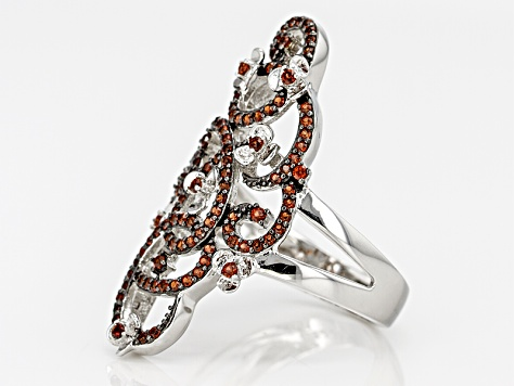 Pre-Owned Red Garnet Sterling Silver Ring .43ctw